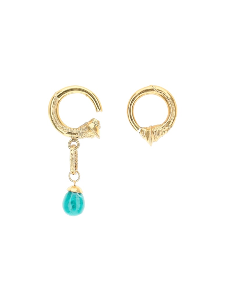 Patou Mismatching Hoop Earrings - GOLD STONES (Gold)
