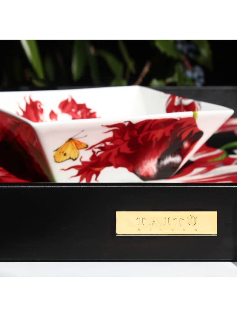 Taitù Small Rectangular Tray- Emotion Collection - Red & Black
