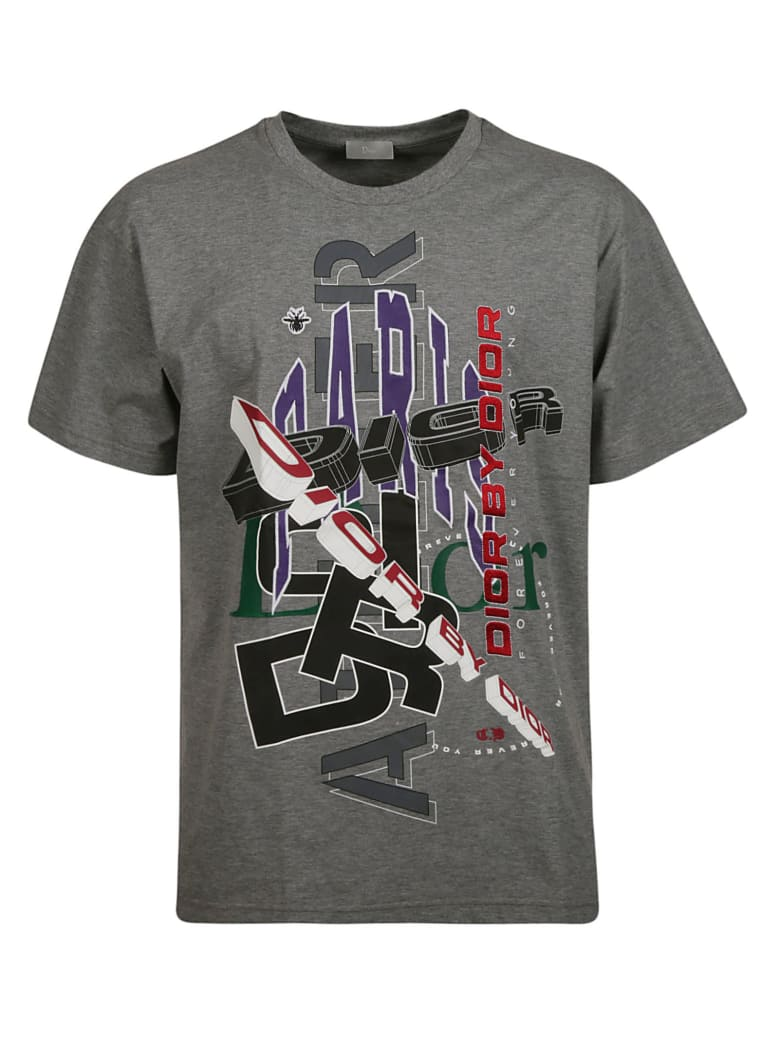 Christian Dior Logo Print T-shirt - Gray/Multicolor