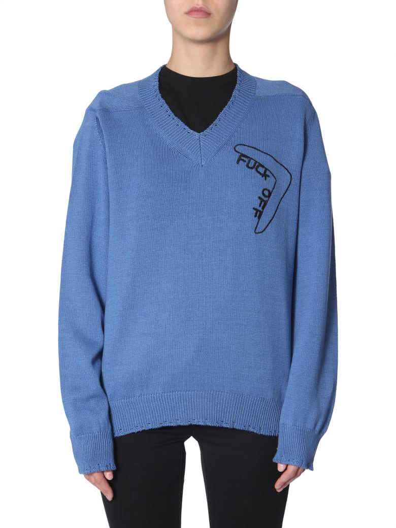 Riccardo Comi Sweater With  Fuck Off  Embroidery - DENIM