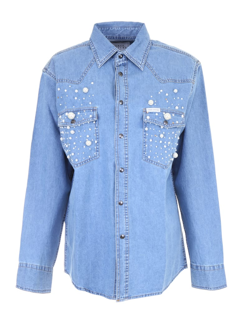 Forte Couture Denim Shirt With Pearls - DENIM1 (Blue)