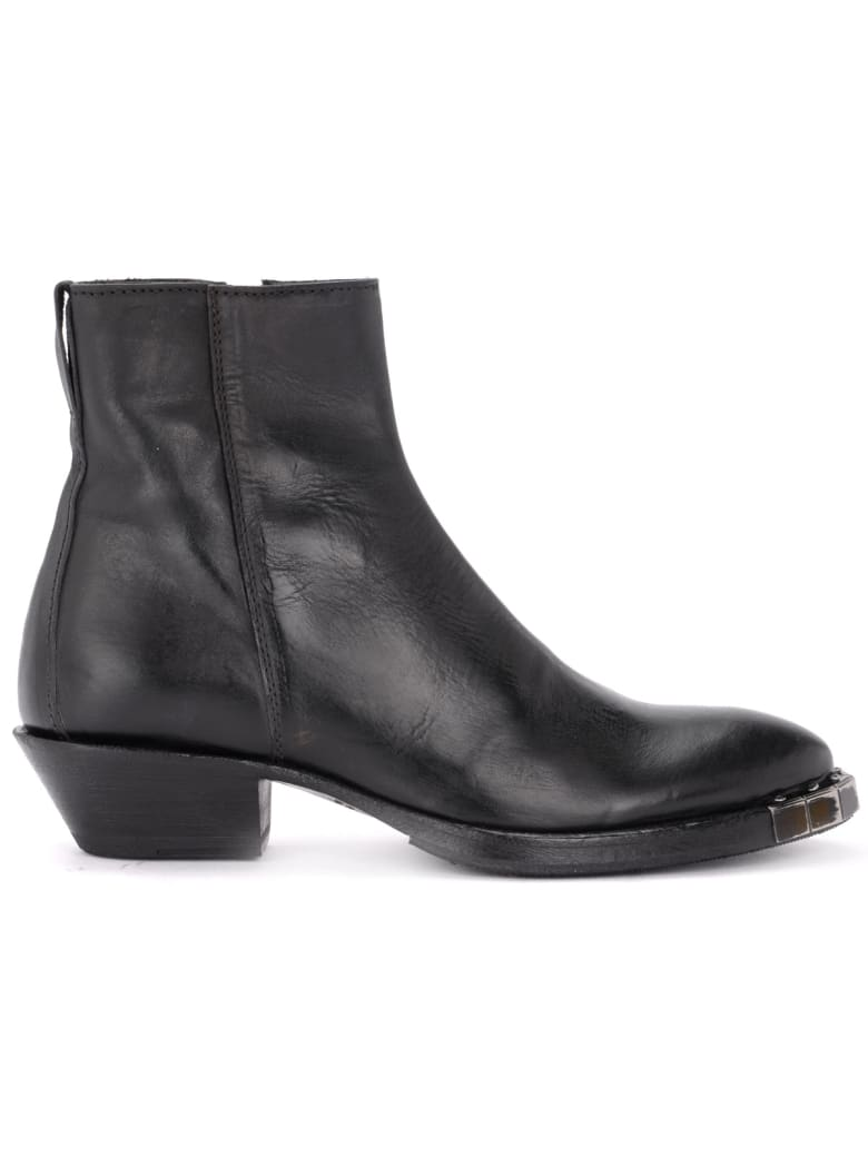 Moma Stella Preto Texan Ankle Boot Made Of Black Leather - NERO