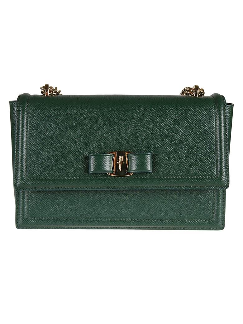 Salvatore Ferragamo Engraved Logo Shoulder Bag - green