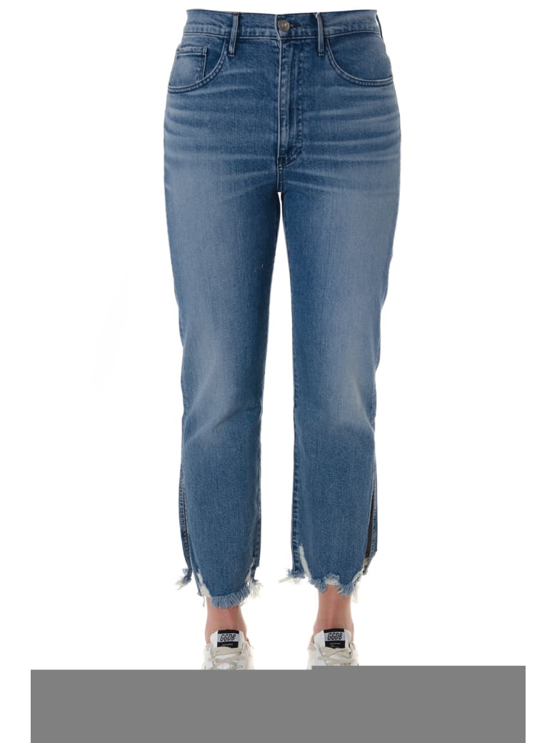 3x1 Florian Fringed Cropped Jeans In Denim - Blue