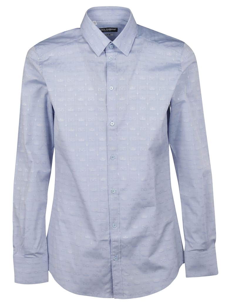 Dolce & Gabbana Dg Logo And Crown Motif Shirt - sky blue