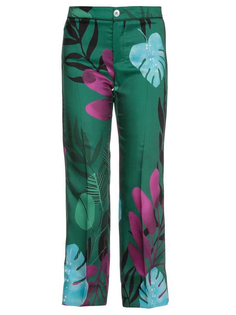For Restless Sleepers Silk Printed Trousers - f.do verde
