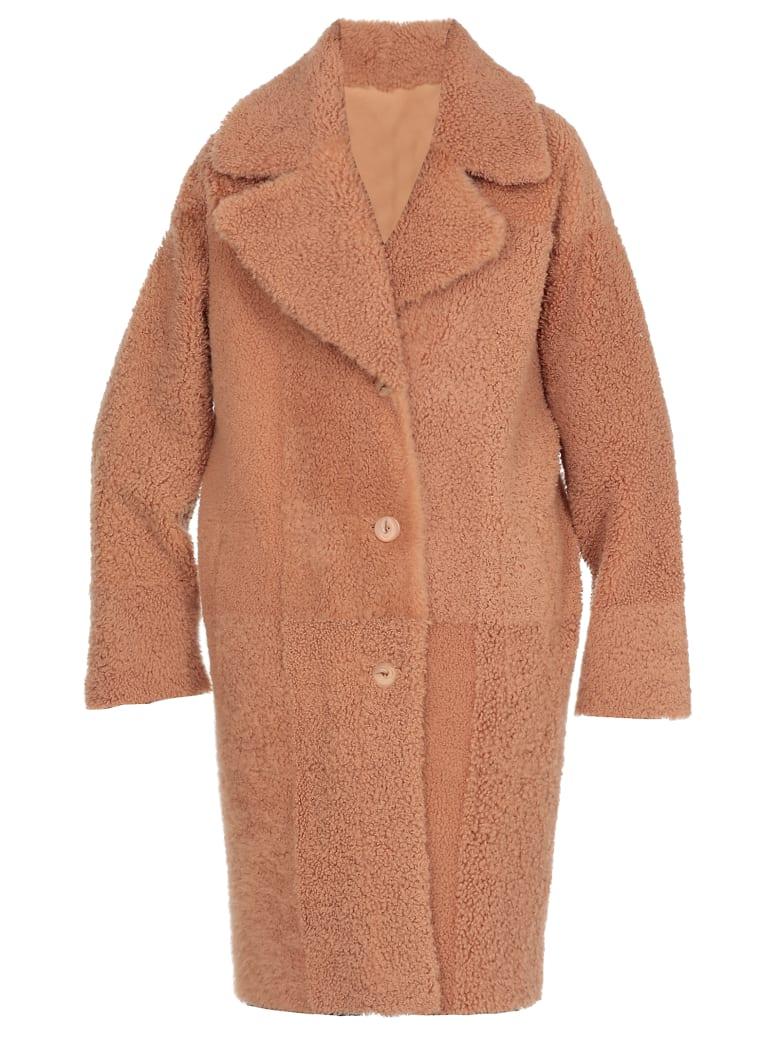 DROMe Reversible Leather Coat - CAMEL