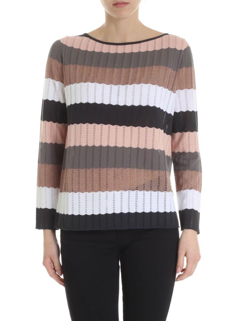 Kangra Multicolor Striped Sweater - Rosa/nero