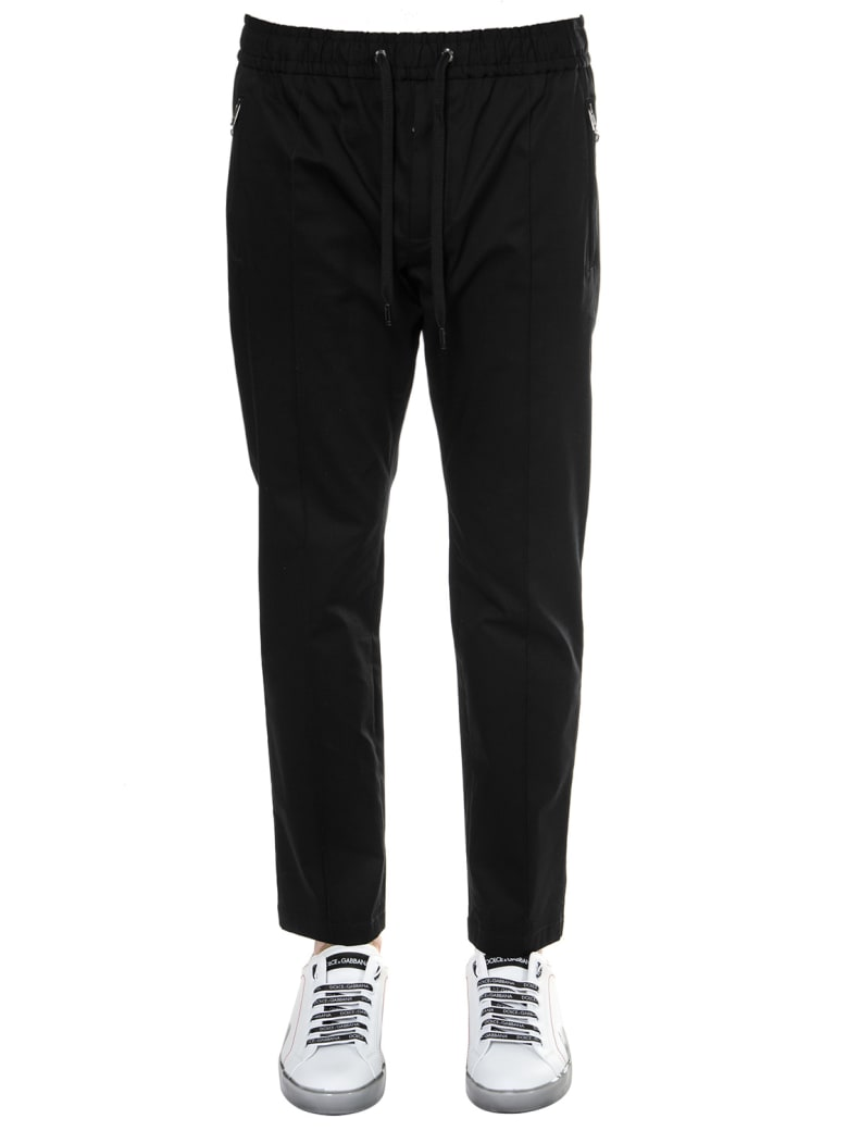 Dolce & Gabbana Black Cotton Track Pants - Black