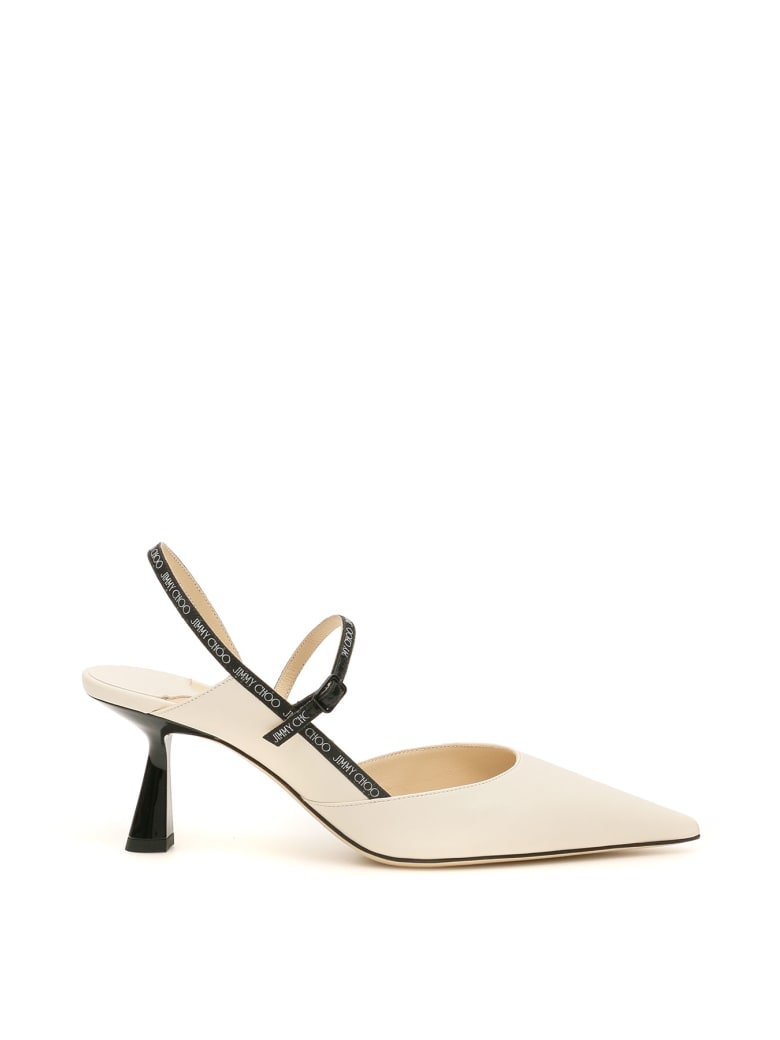 Jimmy Choo Ray 65 Slingback With Logo - Bianco
