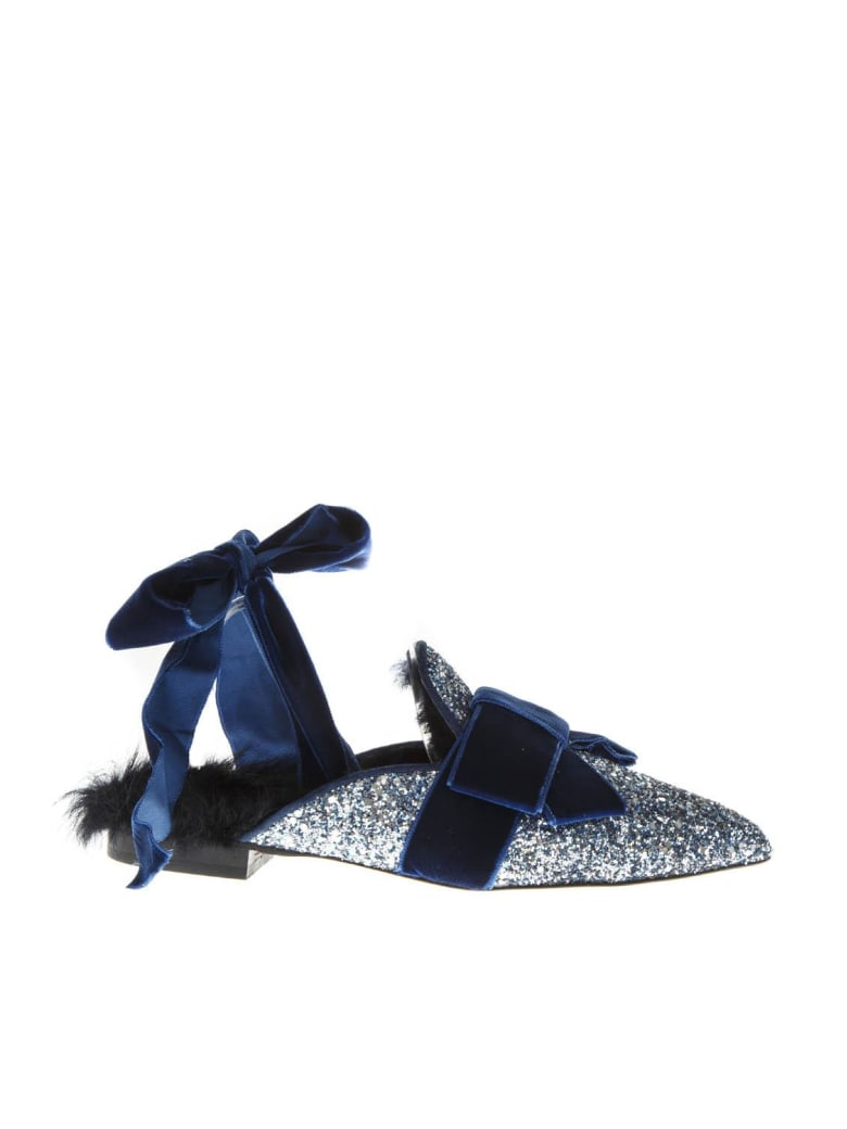 Emanuela Caruso Mules Galaxy In Glitter And Shearling Leather - Blue