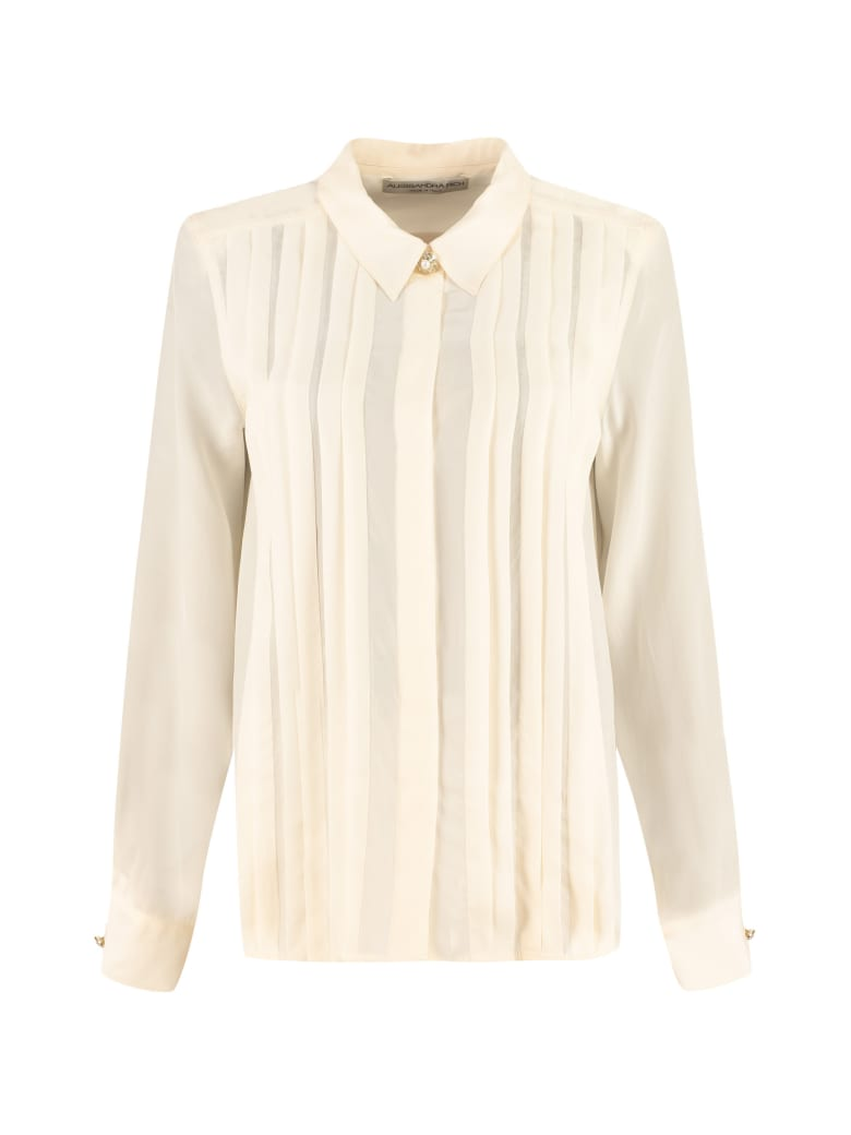 Alessandra Rich Silk Shirt With Pleated Details - panna
