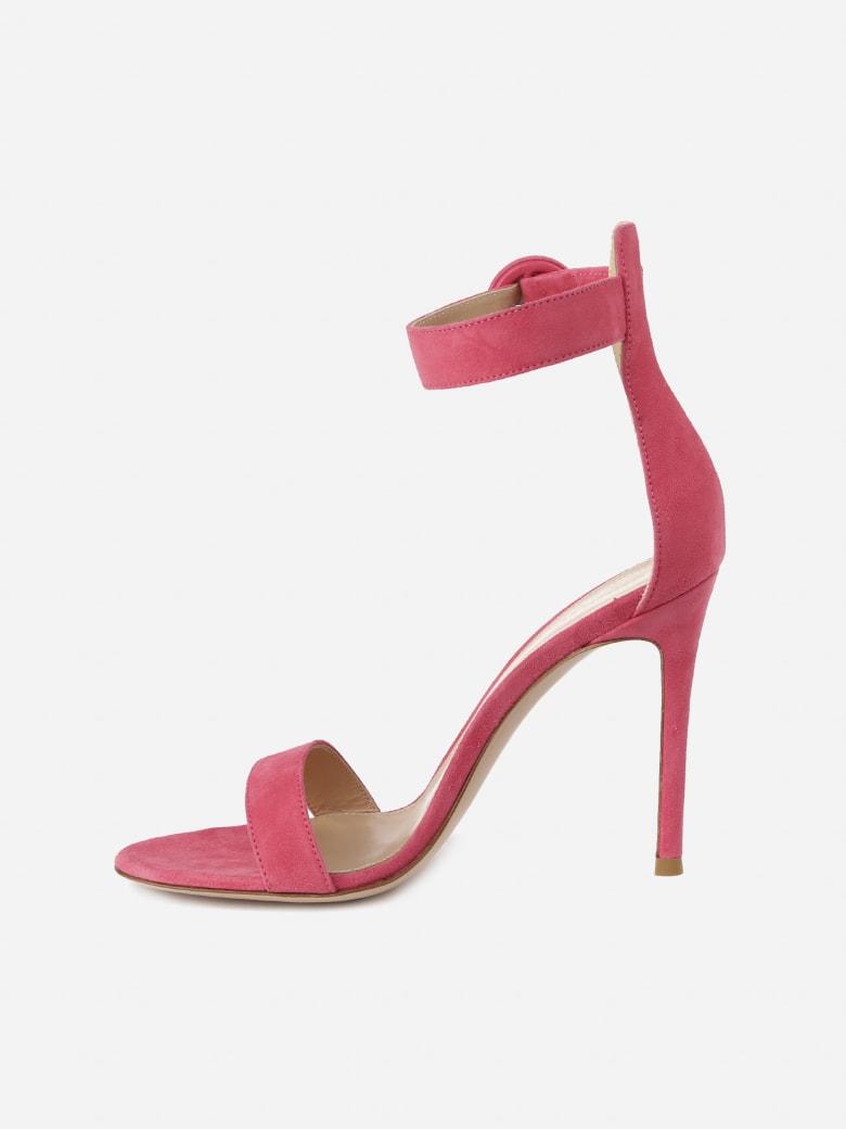 Gianvito Rossi Portofino 105 Sandals In Suede - Pink