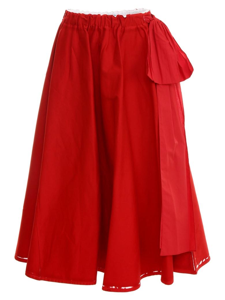 Prada Linea Rossa Overprint Drill Skirt - BIANCO+ROSSO (White)