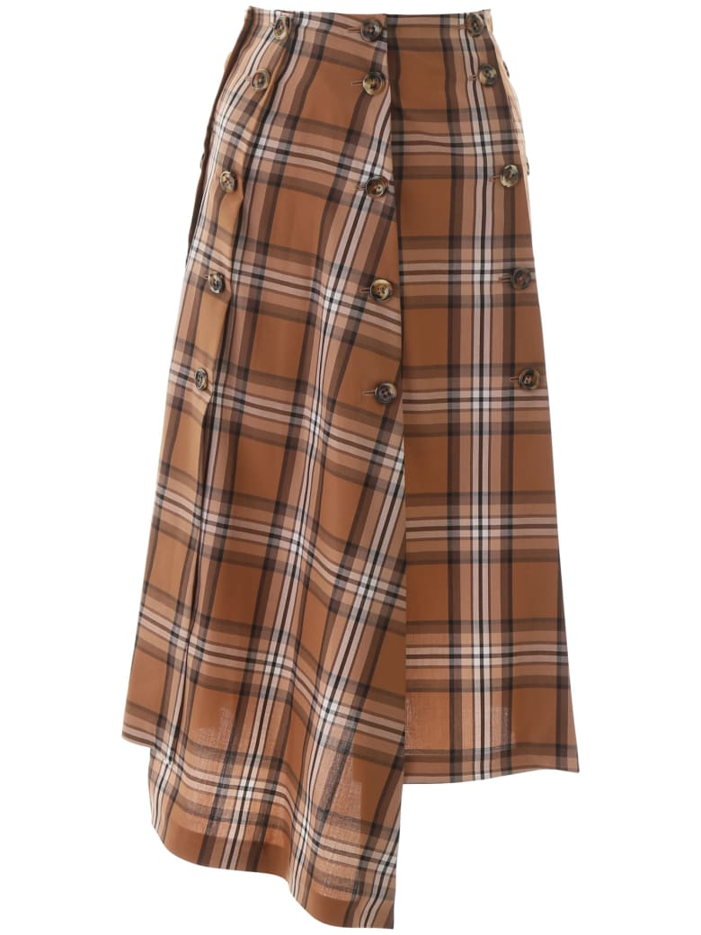 A.W.A.K.E. Mode Checkered Panel Skirt - BROWN BEIGE WHITE CHECK (Brown)