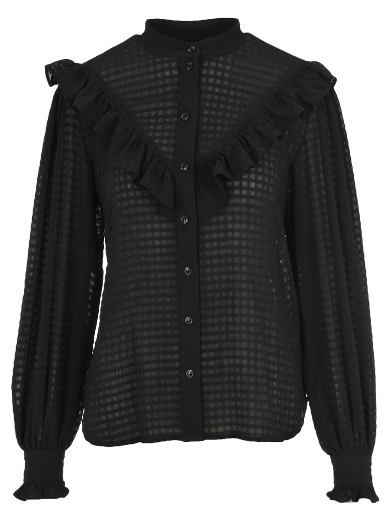 Ganni Ruffle Shirt - BLACK