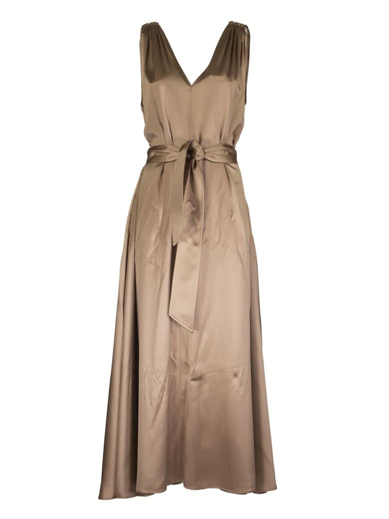 Brunello Cucinelli Silk Dress With Waist Belt - Beige