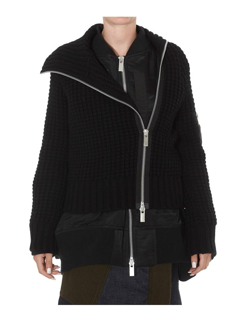 Sacai Xknit Coat - Black