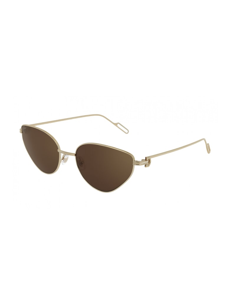 Cartier Eyewear CT0155S Sunglasses - -gold-gold-brown