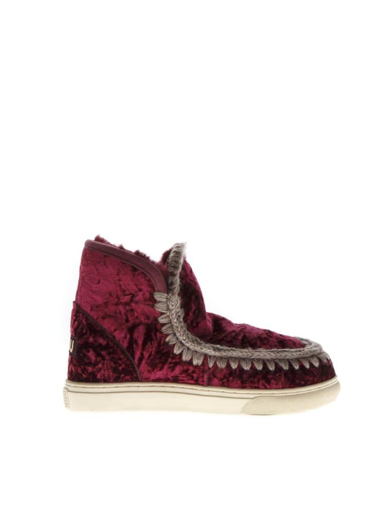Mou Eskimo Burgundi Wool & Velvet Sneakers Boots - Burgundi