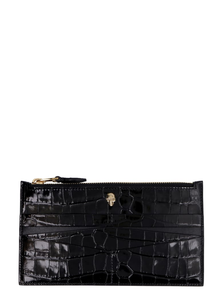 Alexander McQueen Croco-print Leather Wallet - black