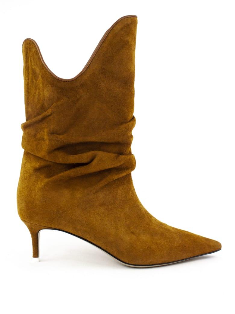 The Attico Brown Suede Boot - Camel
