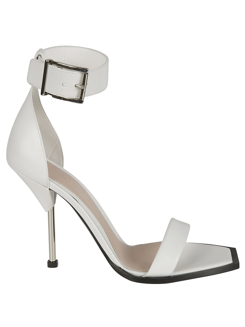Alexander McQueen High Ankle Buckle Strap High Heel Sandals - Ivory/Silver