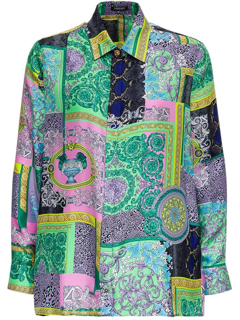 Versace Barocco Petchwork Print Silk Shirt - Multicolor