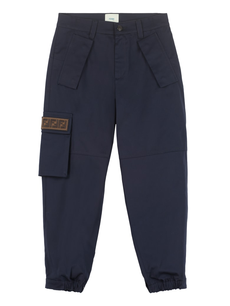 Fendi Stretch Cotton Trousers - blue
