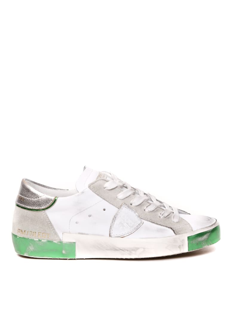 Philippe Model White Vintage Leather & Suede Sneaker - White