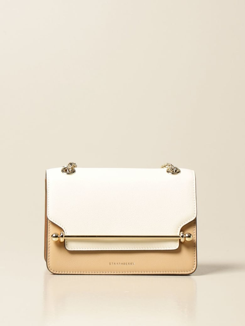 Strathberry Crossbody Bags East/west Mini Strathberry Bag In Tricolor Leather - Natural