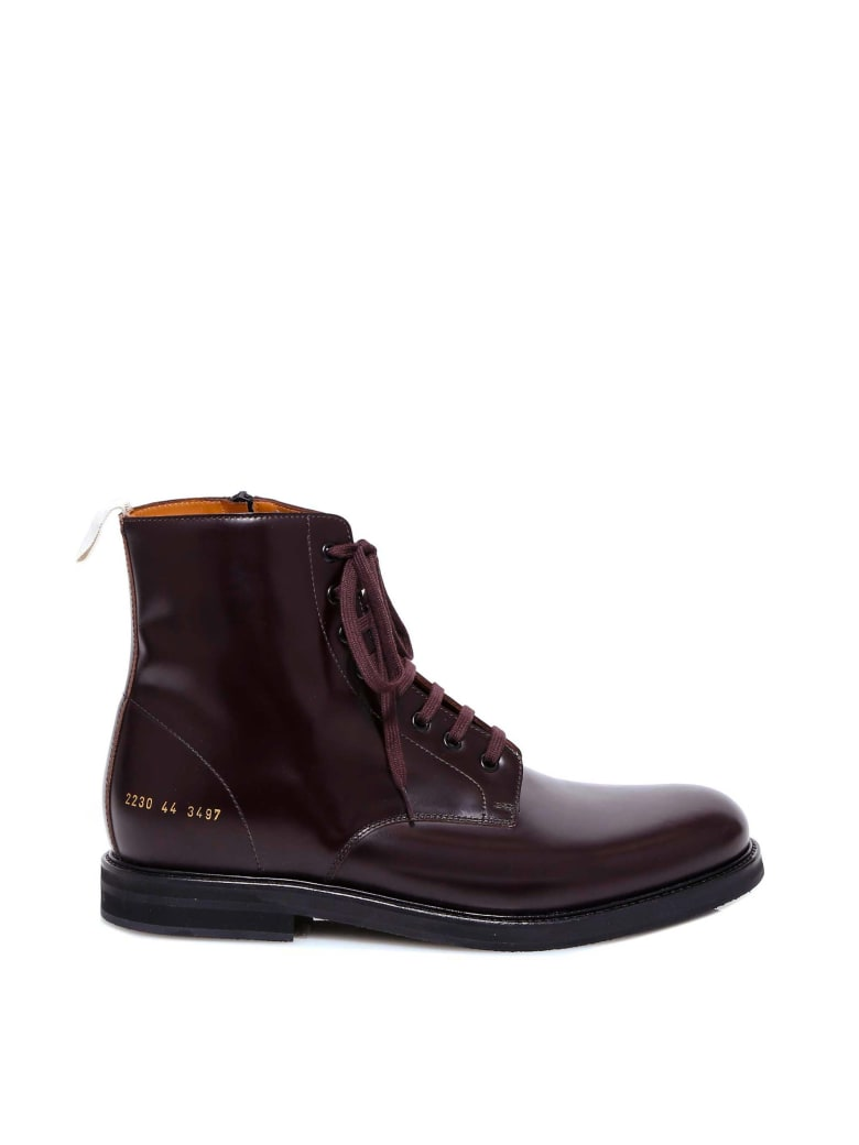 Common Projects Standard Combat Boot Ankle Boots - Red