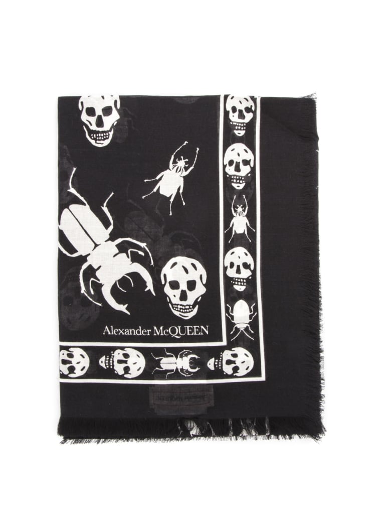 Alexander McQueen Skull And Insect Printed Black Scarf - Black/ivory