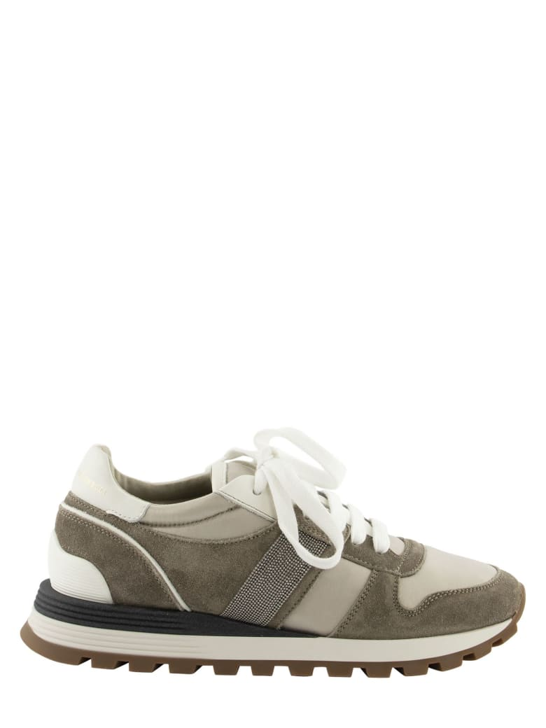 Brunello Cucinelli Suede And Techno Fabric Sneakers With Precious Band - Beige
