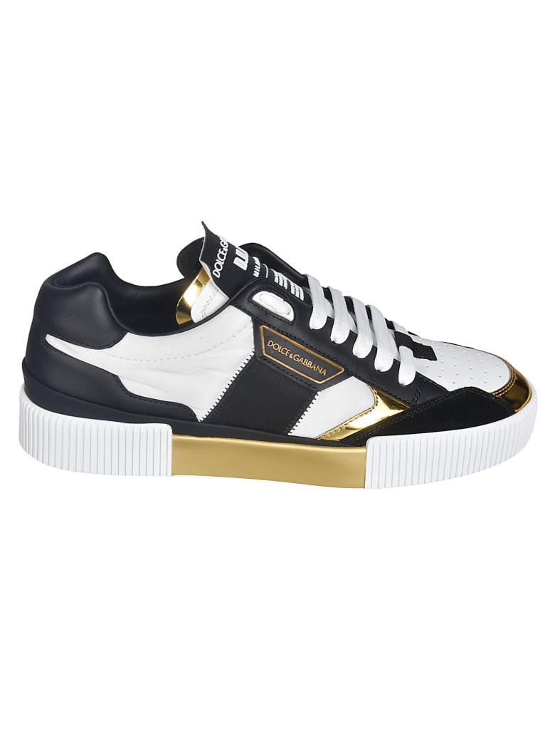Dolce & Gabbana Side Logo Metallic Sneakers - White/Black/Gold