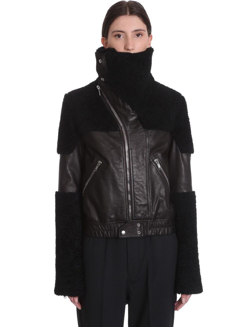 Rick Owens Keith Jkt Leather Jacket In Black Leather - black
