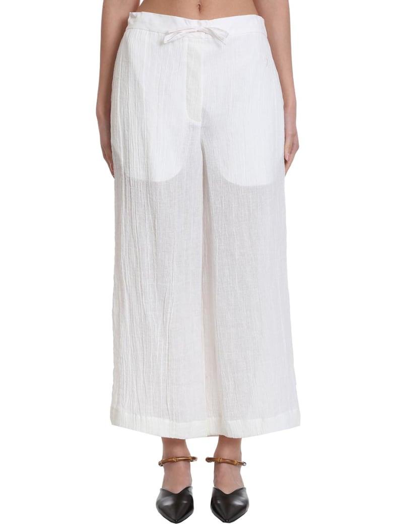 Jil Sander Pyjama Pants In White Cotton And Linen - white