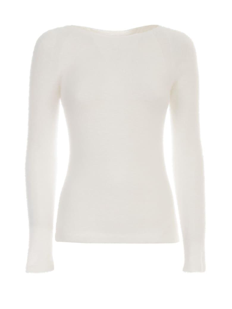Emporio Armani Sweater L/s Boat Neck Peluche - Bianco