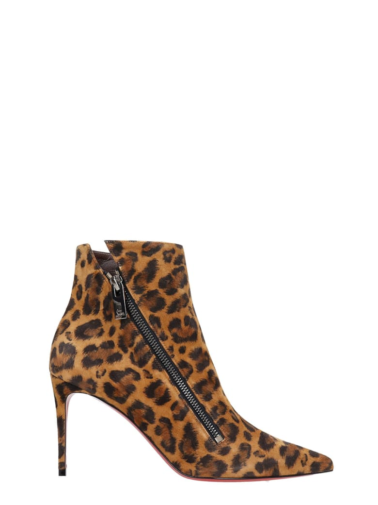 Christian Louboutin Brigikate 85 High Heels Ankle Boots In Animalier Suede - Animalier
