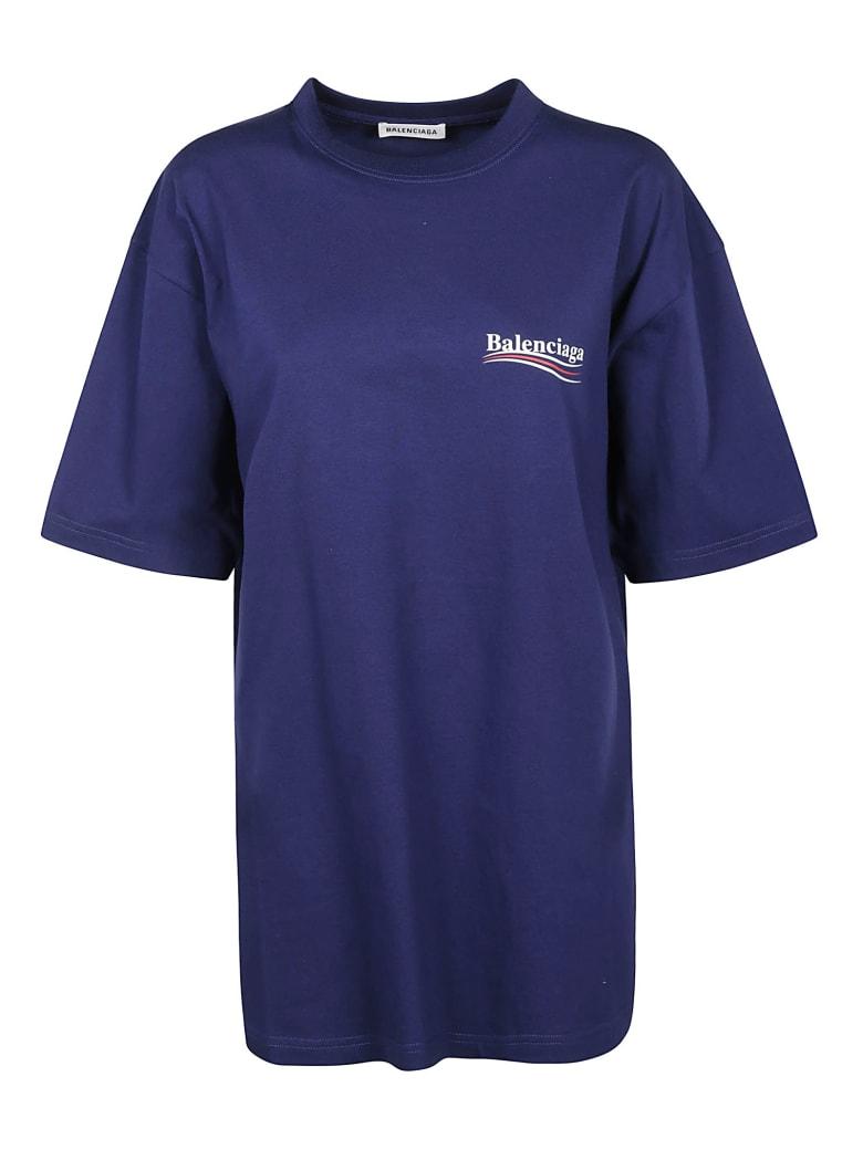 Balenciaga Oversize Logo Print T-shirt - Blu