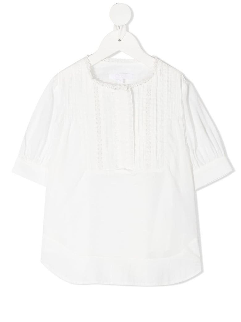 Chloé White Cotton Shirt With Lace Inserts - White