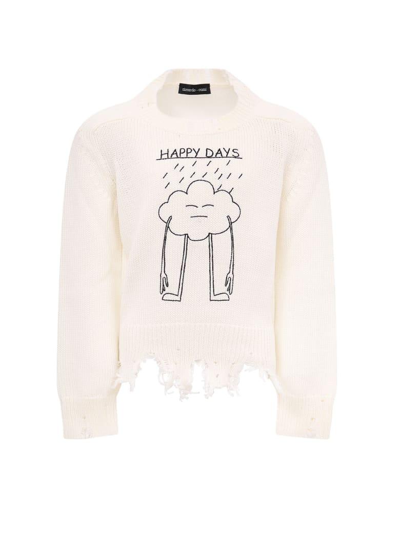 "Riccardo Comi White ""happy Day"" Sweater For Kids - White"
