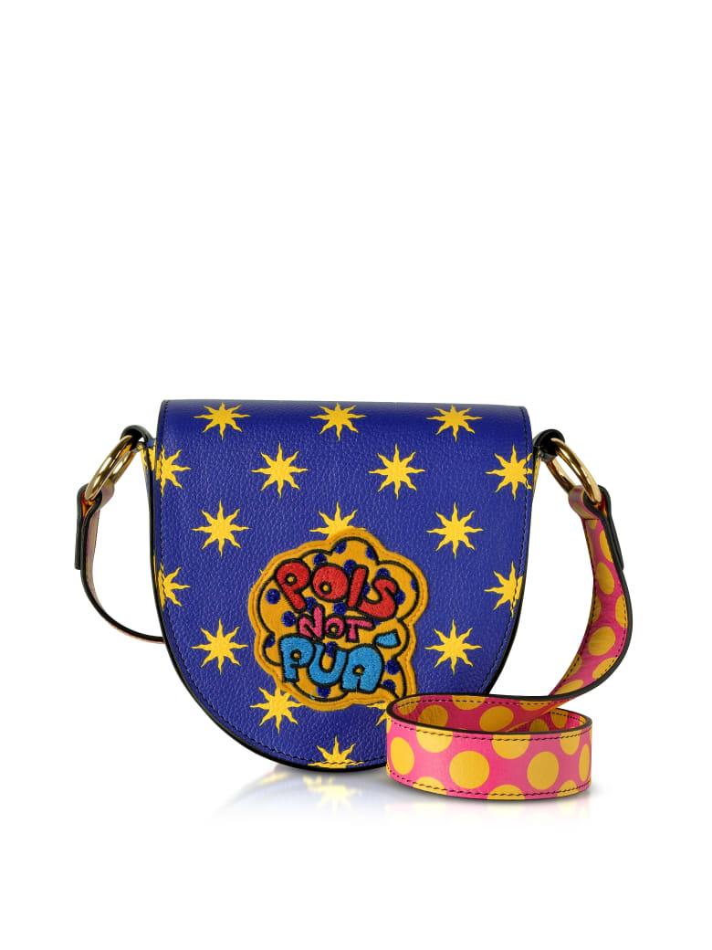 Alessandro Enriquez Mini Hebe Pop Pois Leather Shoulder Bag - Blue