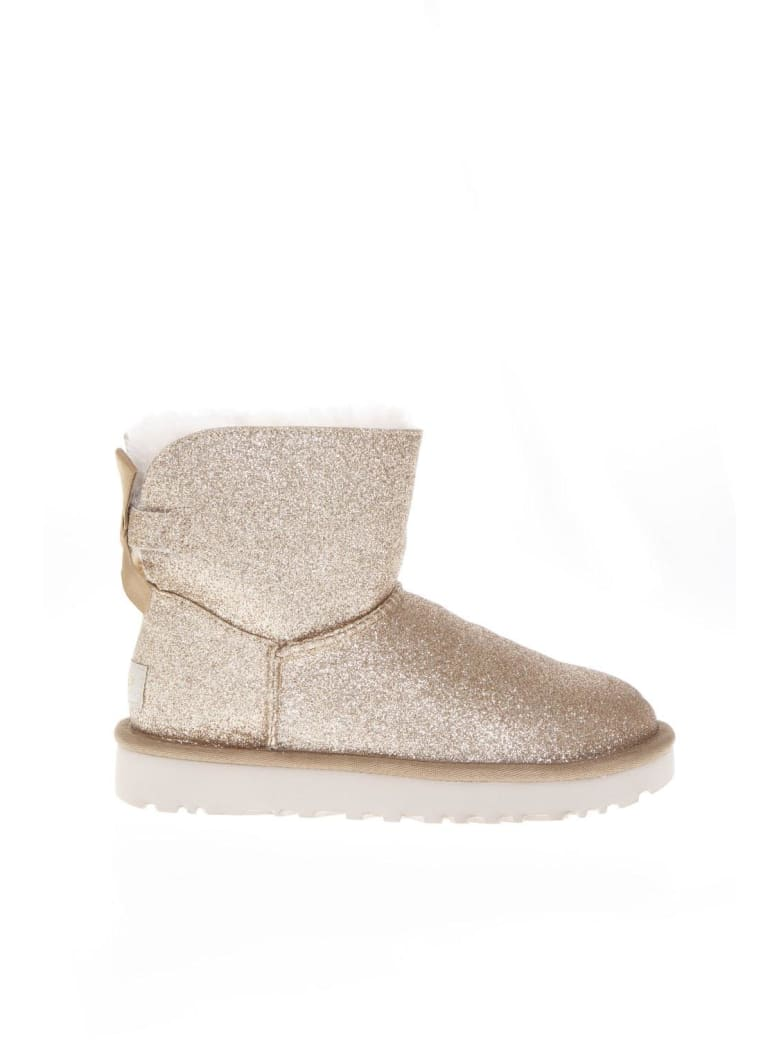 UGG Gold Sheep Leather Mini Bailey Sparkle Boots - Gold