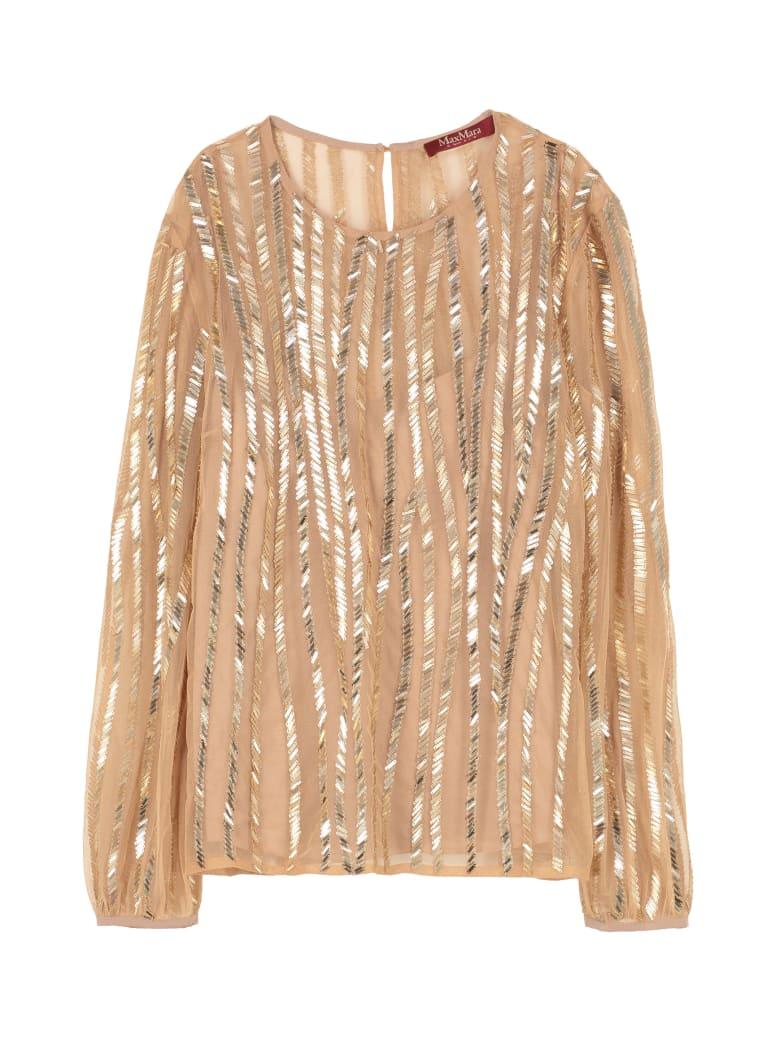 Max Mara Studio Girl Embroidered Blouse - Gold