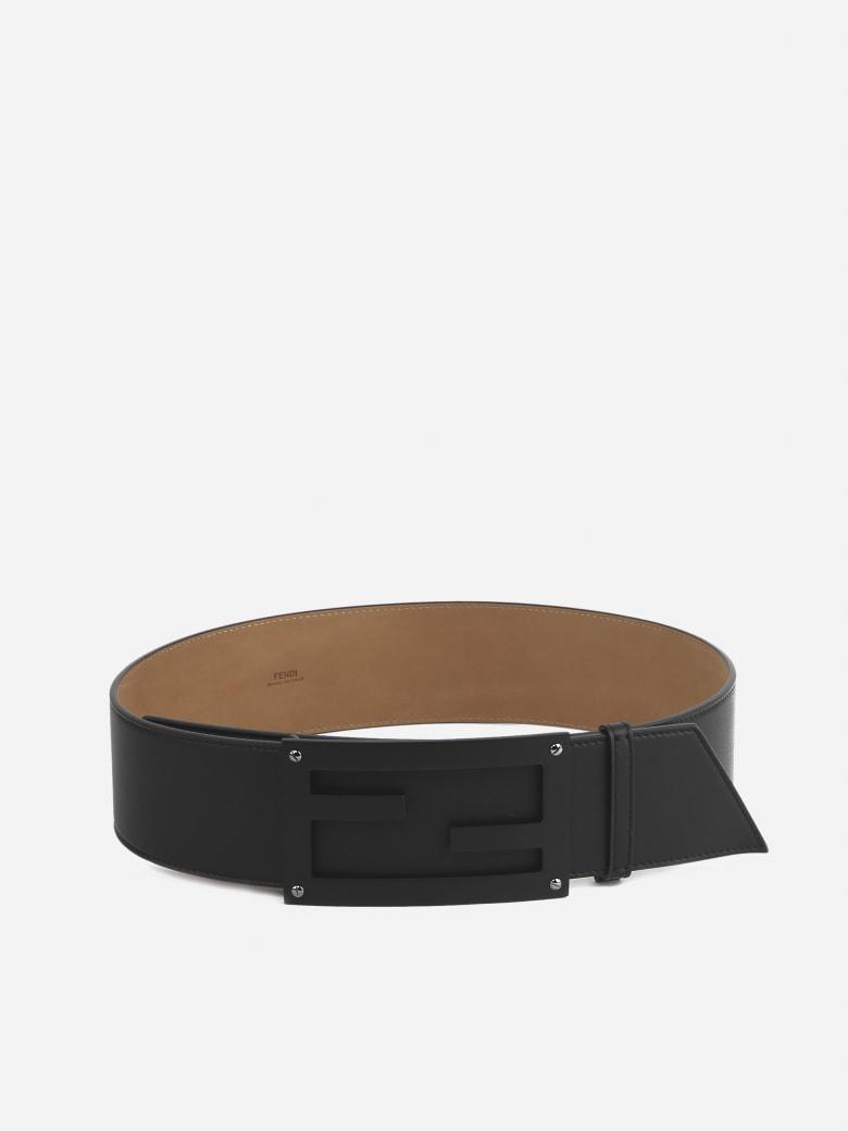 Fendi Ff Baguette Leather Belt - Nero+rub