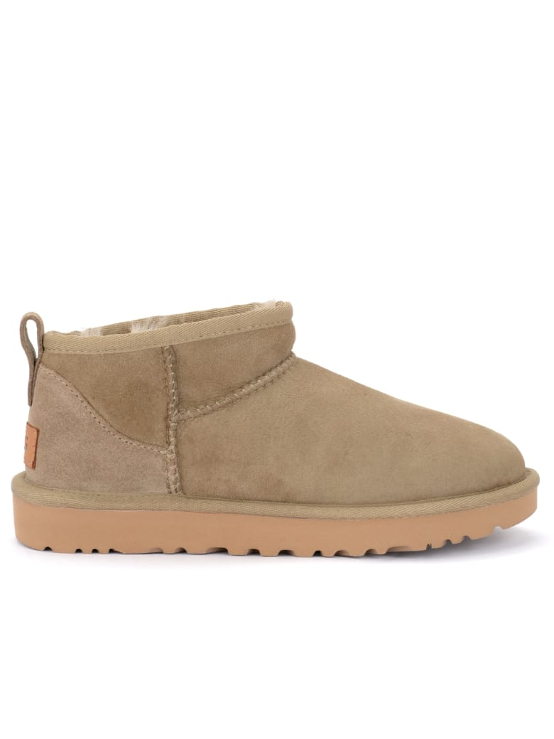 UGG Classic Ultra Mini Ankle Boot Made Of Antelope-colored Suede - MARRONE