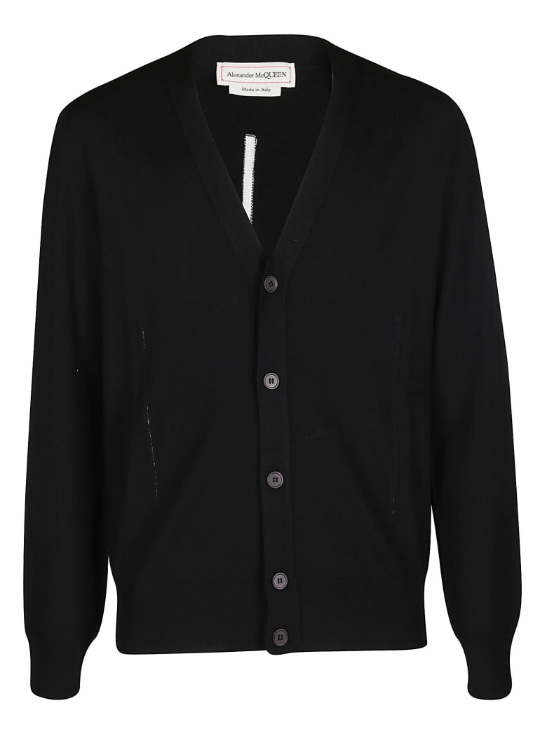 Alexander McQueen Black Wool Cardigan - Black
