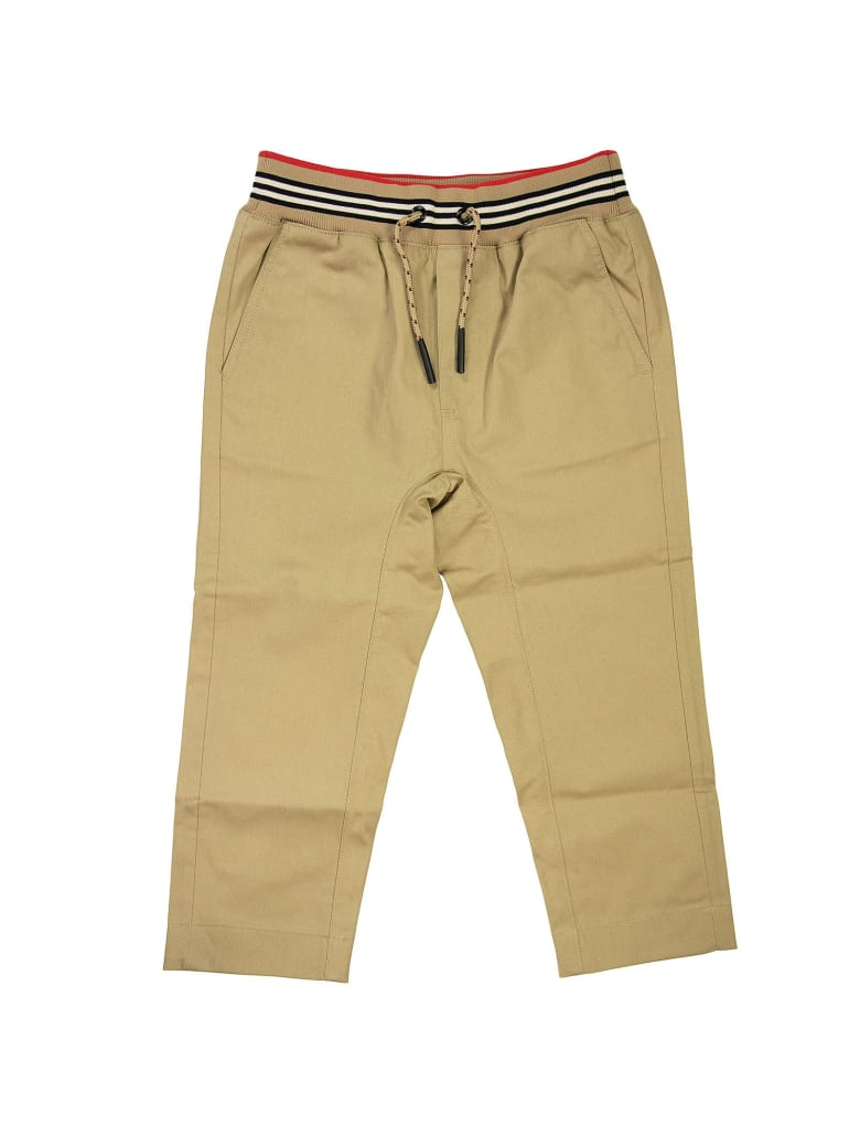 Burberry Dilan - Icon Stripe Detail Cotton Twill Drawcord Trousers - Honey