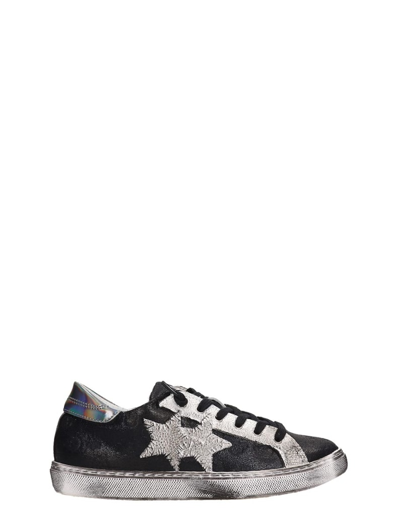 2Star Washed Black Leather Low Star Sneakers - black